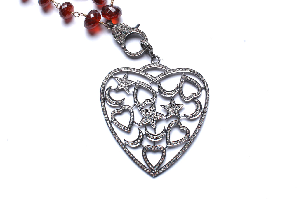 Garnet, Rose Cut Diamond Heart Pendant Wired Beaded Necklace