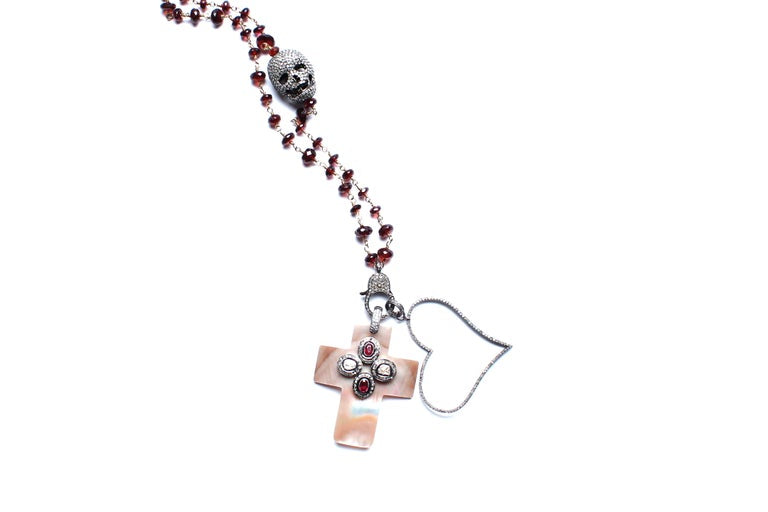 Garnet, Diamond Skull, Ruby, Mother of Pearl Cross Rosary