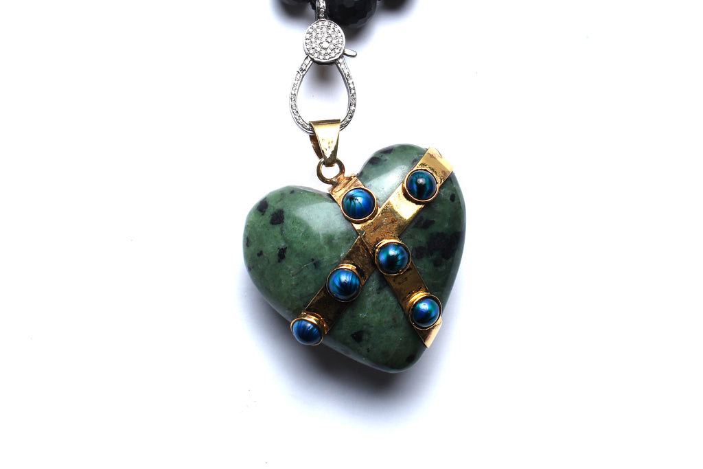 Onyx Agate Jade Green Heart Beaded Necklace