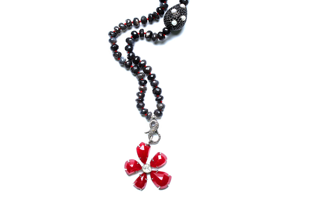 Tourmaline, Agate, Pearl, Black Diamond Flower Necklace
