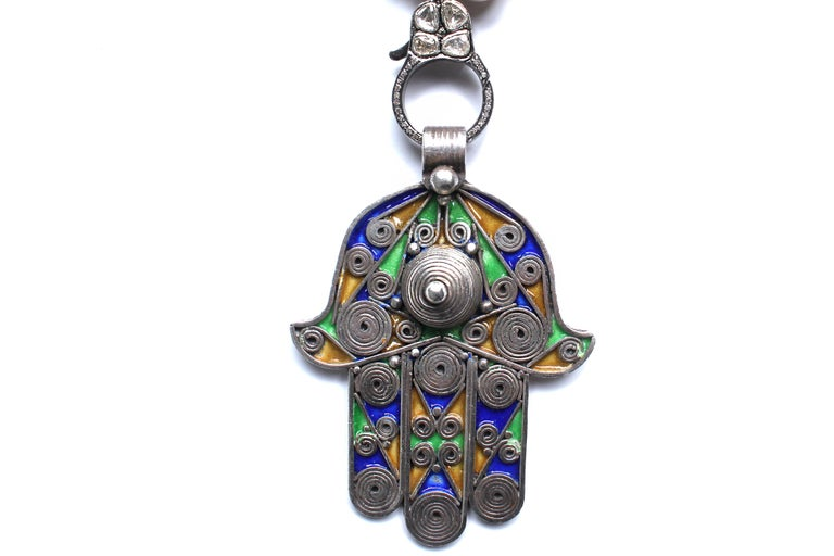 Bone Antique Moroccan Hamsa Hand Beaded Necklace