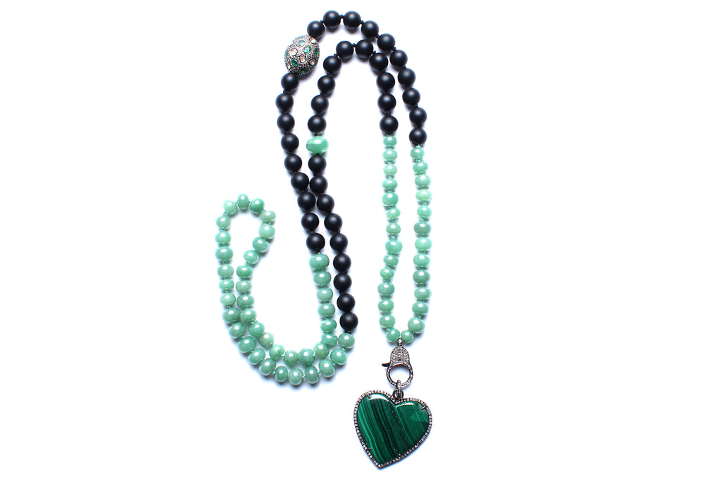 Black Onyx Green Onyx Chalcedony Heart Beaded Necklace