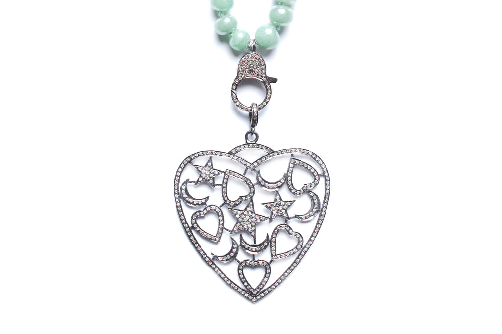 Green Agate, Jade, Diamond Heart Pendant Beaded Necklace