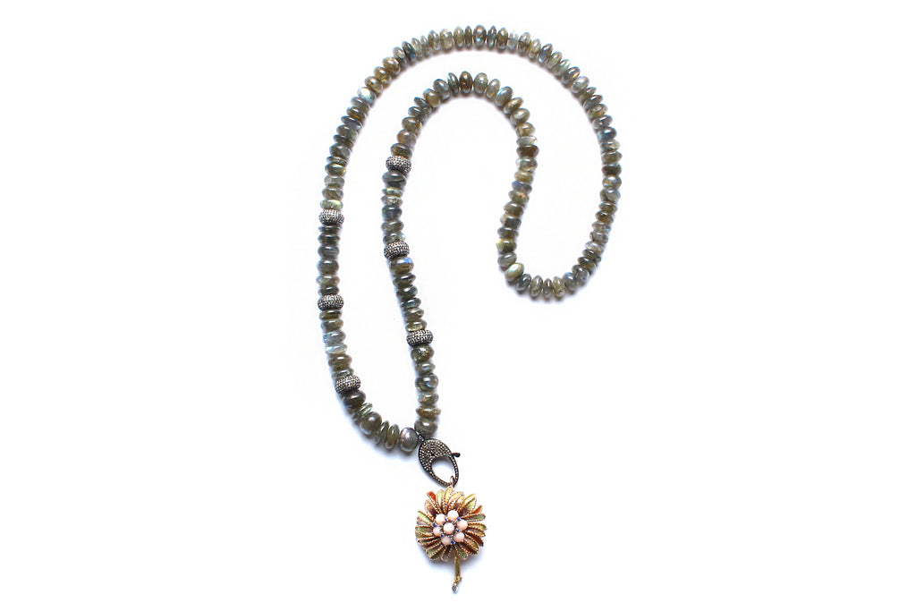 Labradorite, Diamond, Sapphire, 14kgold Palm Tree Bead Necklace