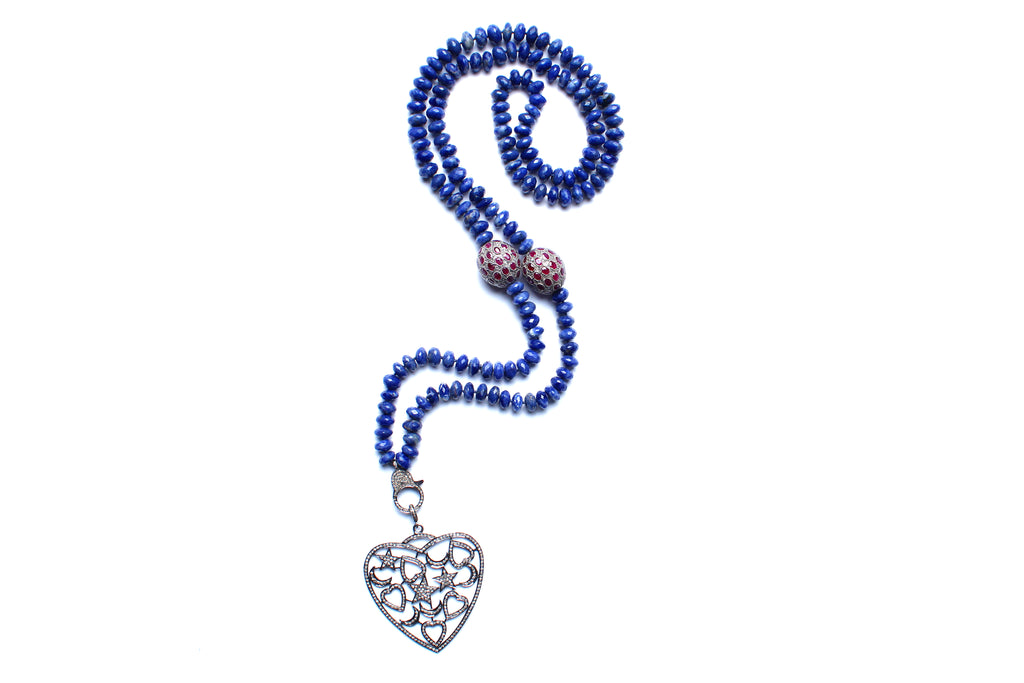 Lapis Beaded Ruby Diamond and Silver Heart Pendant Necklace