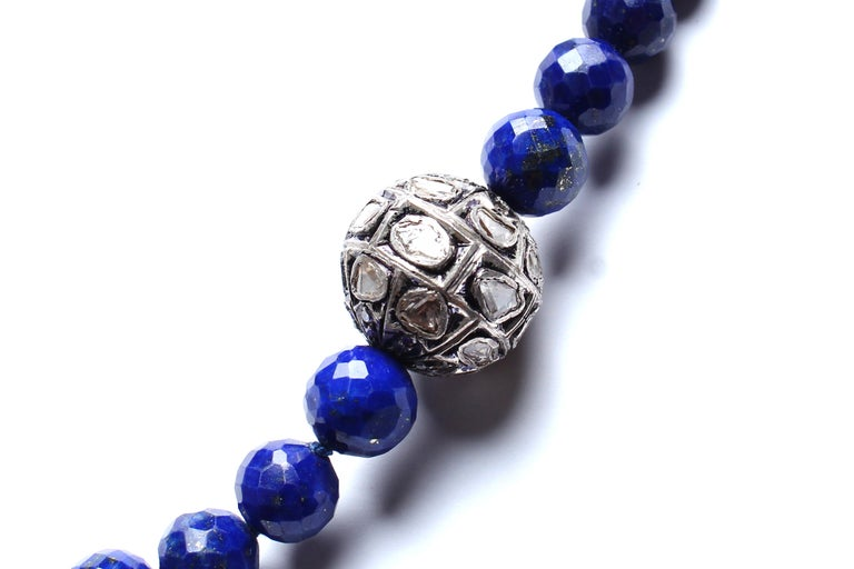 "Lapis Beads 18"", Rose Cut Diamonds, Mother of Pearl Necklace"