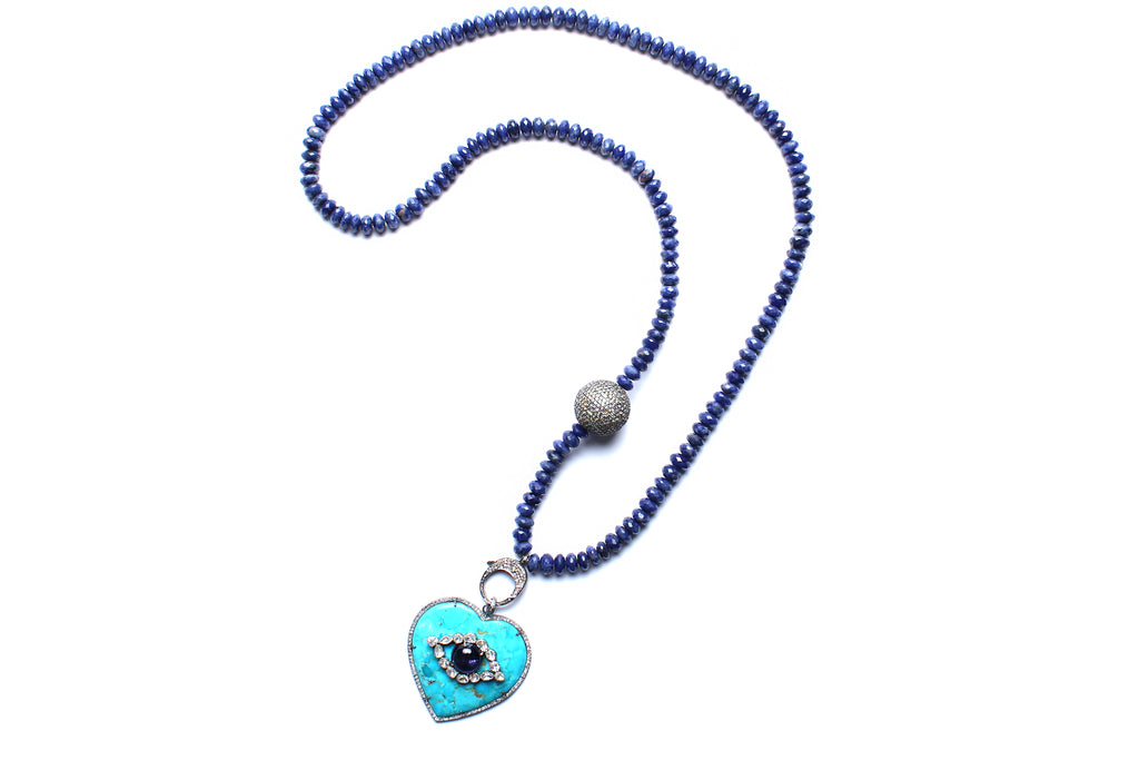 Lapis Turquoise Sapphire Heart Eye Beaded Necklace