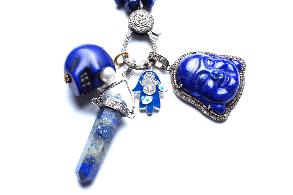 Lapis, Sapphire, Diamond, Silver Multi Charm Beaded Necklace