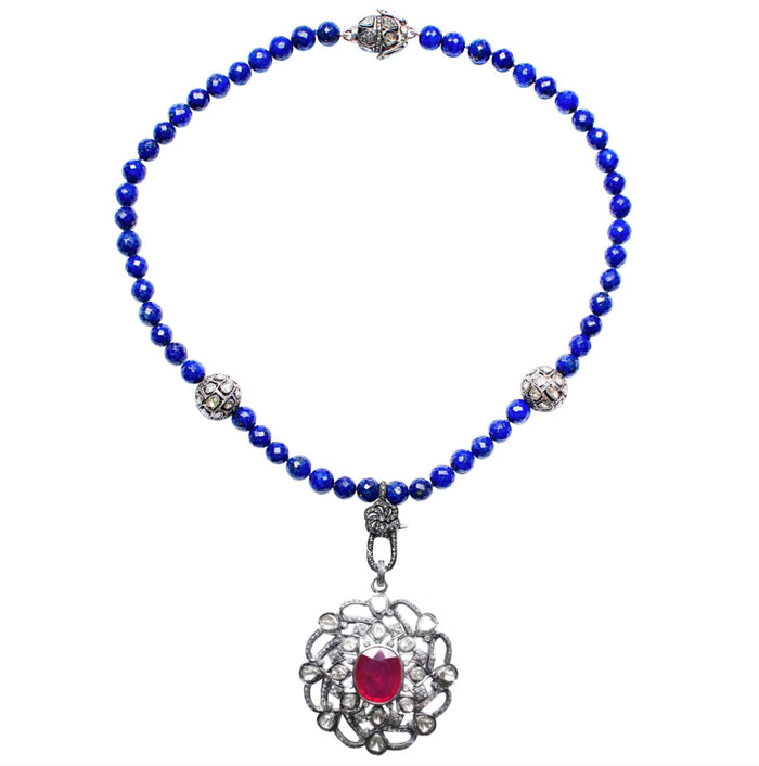 Lapis Rose Cut Diamond Vintage Ruby Pendant Beaded Necklace