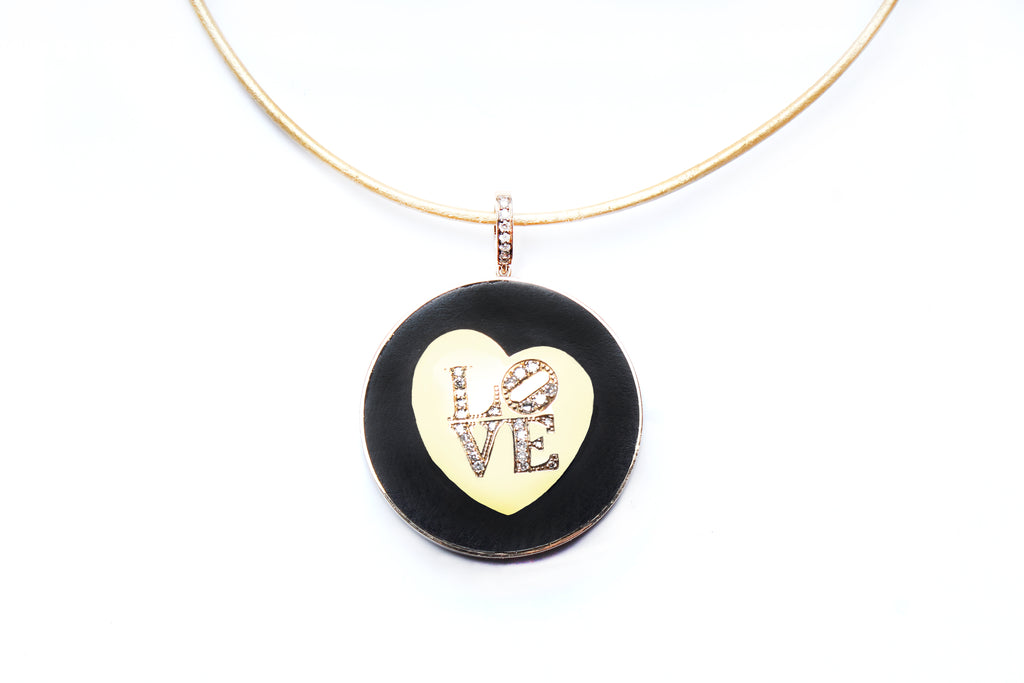 "Signature Ebony ""LOVE"" Pendant on Diamond and Suede Cord"