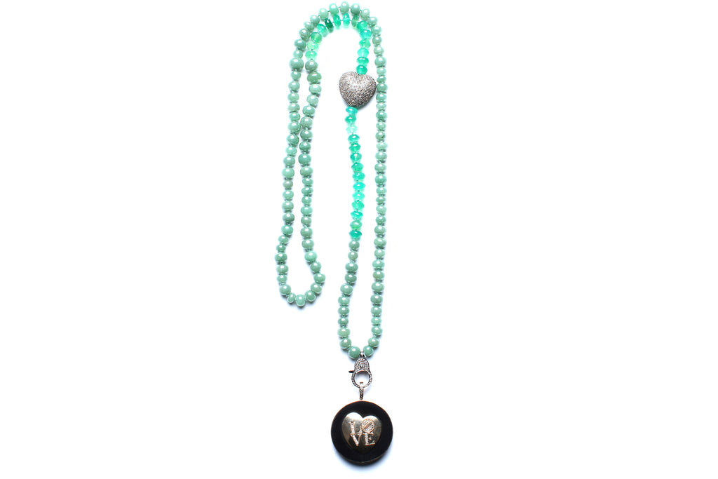 Green Onyx Ebony 14 Gold 'LOVE' Beaded Necklace