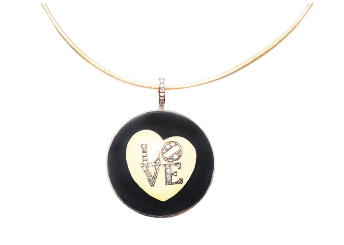 Signature Ebony Collection, 14k Gold, Diamond 'LOVE' Pendant