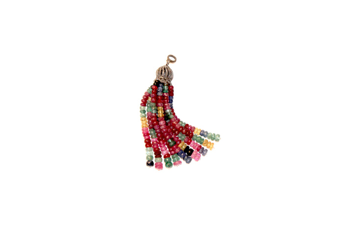Multi Colored Diamond on Silver Tassel