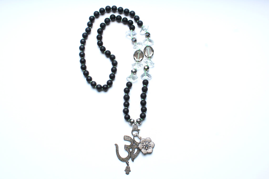 Onyx, Crystal, Sapphire, Diamond Ohm Beaded Necklace
