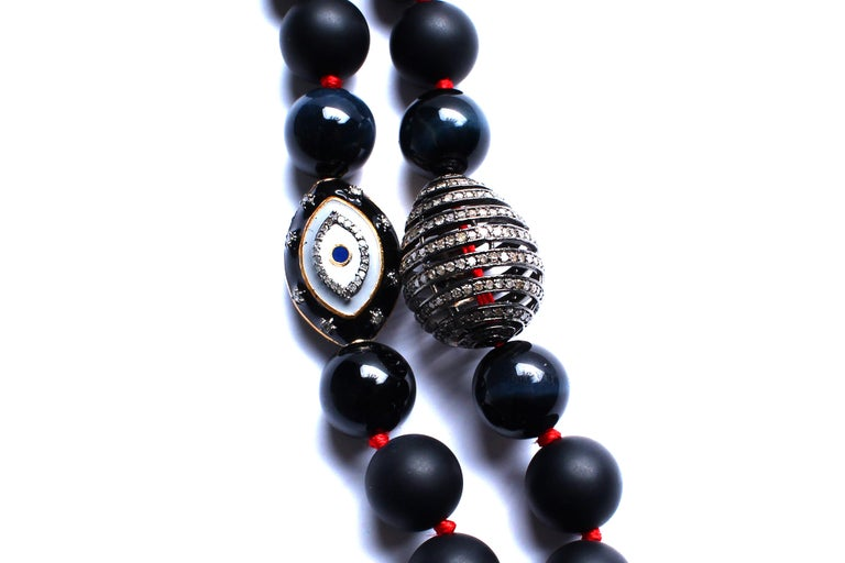 Onyx, Red Thread, Enamel, Diamond, Jade Heart Beaded Necklace