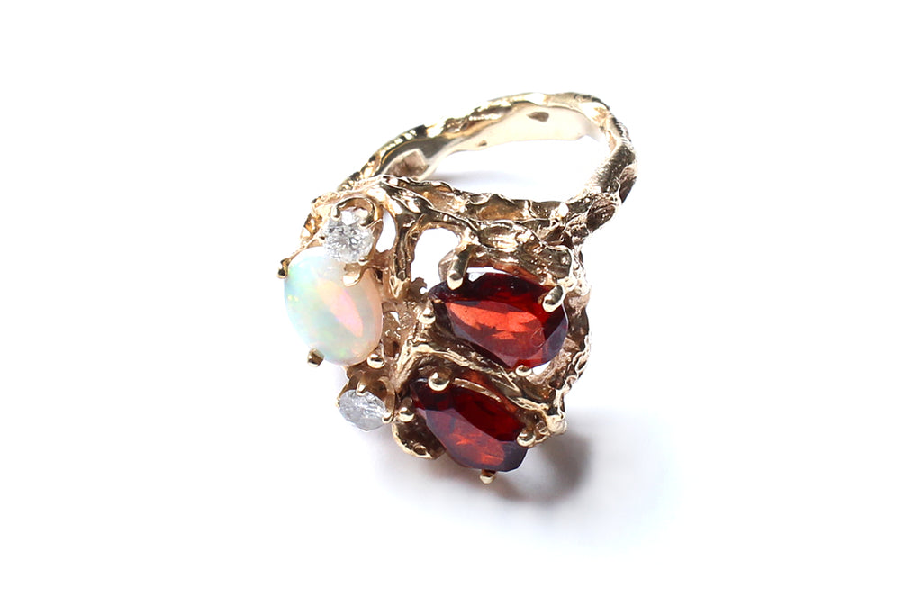Ruby, Ethiopian Opal, Diamond Ring