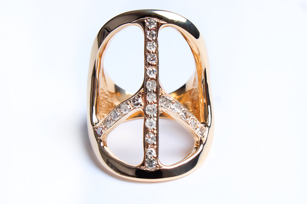14 Karat Gold Diamond Peace Ring Shiny Finish