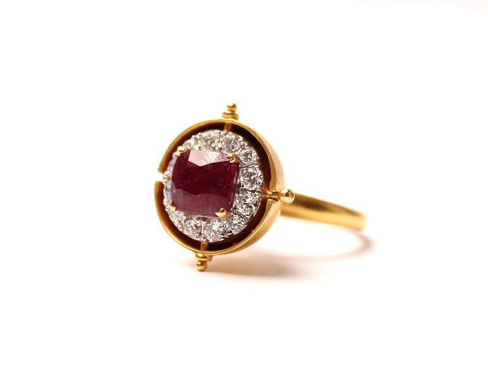 Ruby, Diamond, Gold Peekaboo Ring