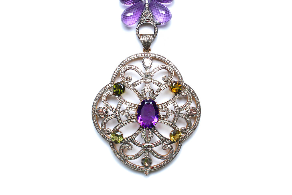 Amethyst, Peridot, Diamond Beaded Pendant Necklace