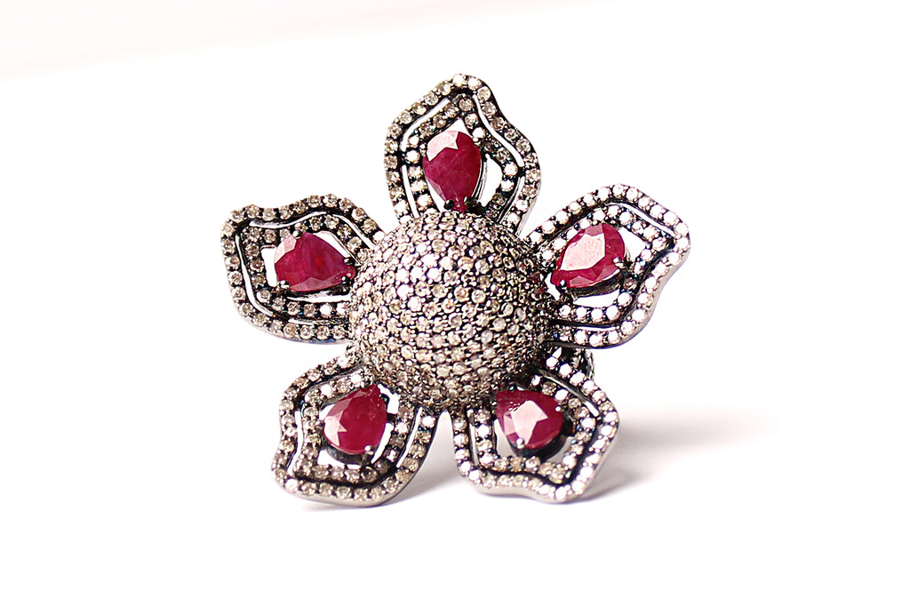 Ruby Flower Ring