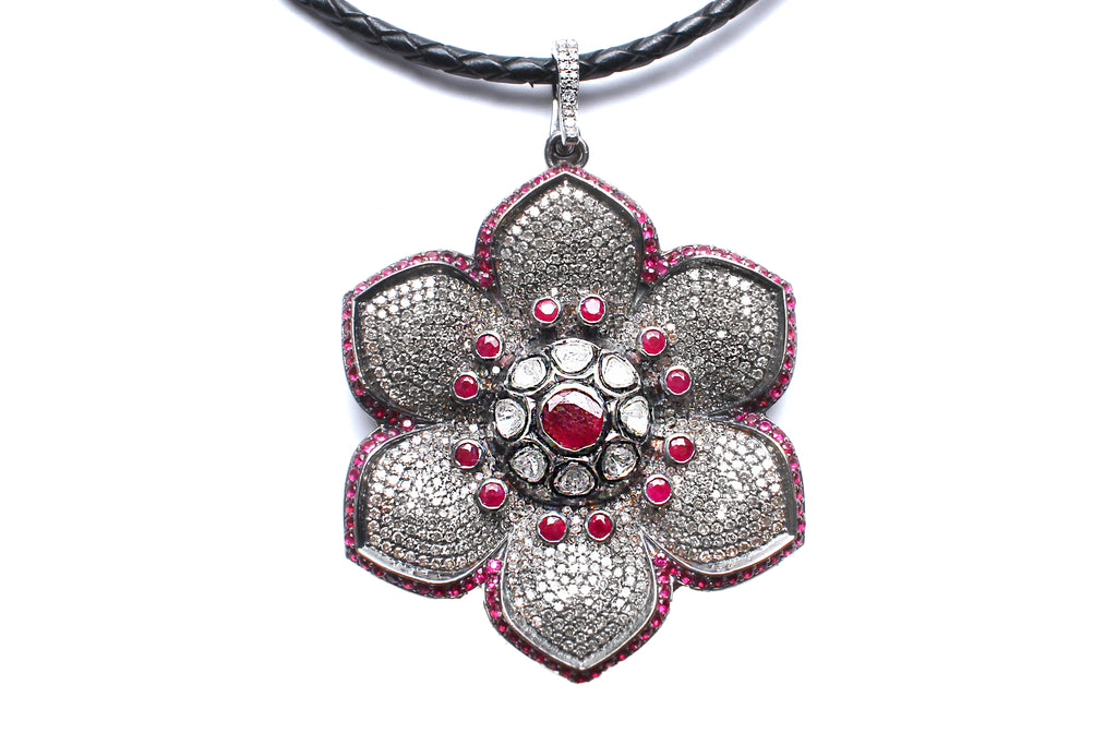 Signature Ruby, Flower Pendant on Suede Diamond Cord