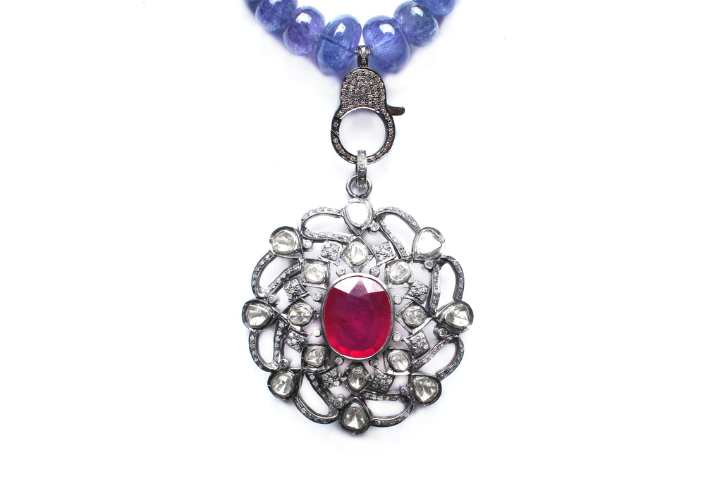 Tourmaline, Diamond, Silver, Ruby, Sapphire Rosary Pendant Necklace