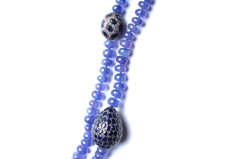 Fine Cut Tanzanite, Sapphire, Diamond Firefly Beaded Necklace