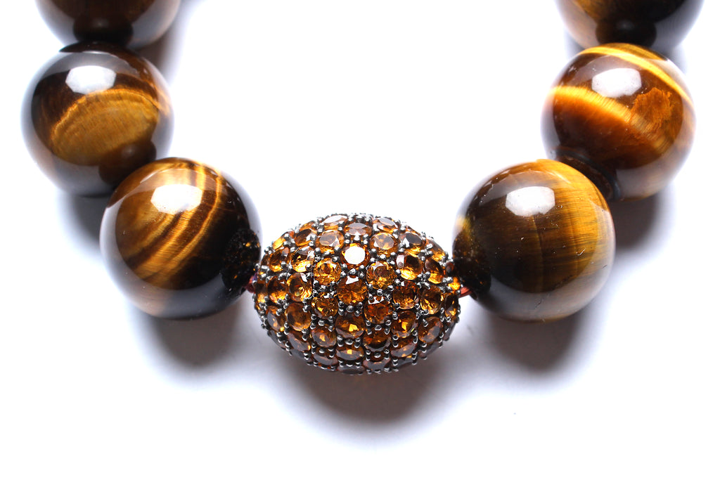 Yellow Sapphire, Tiger Eye Beaded Bracelet