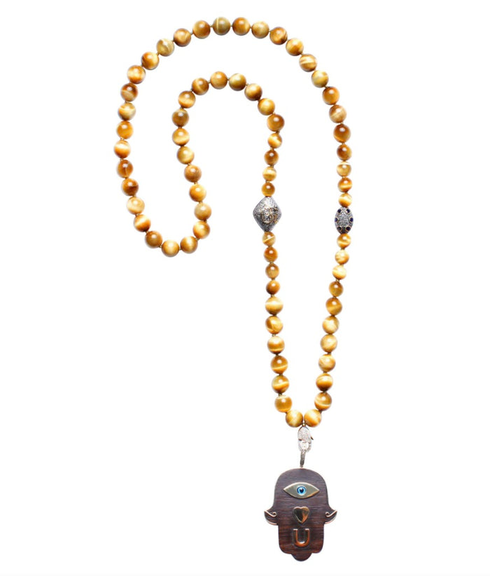 Tiger Eye Sapphire 14k Gold Diamond Ebony Eye Luv U Necklace