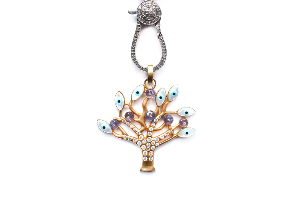 Iridescent Diamond, Silver, Enamel, 14 Karat Gold Tree of Life Necklace