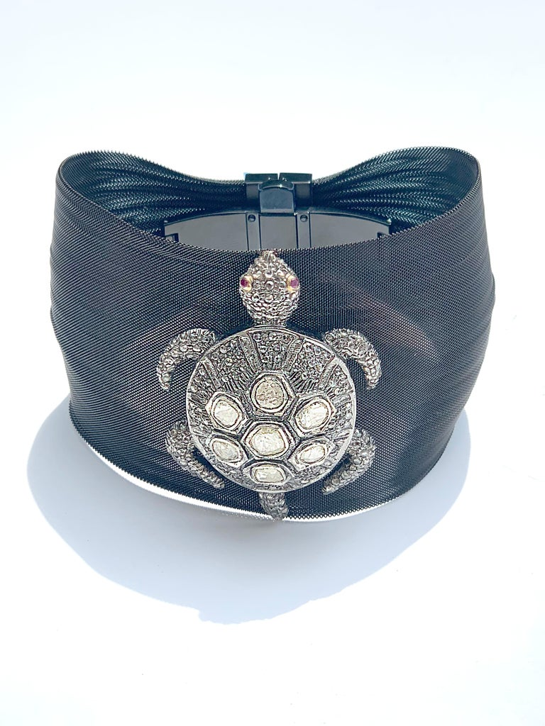 Rose cut Diamond Turtle Silver Mesh Bracelet
