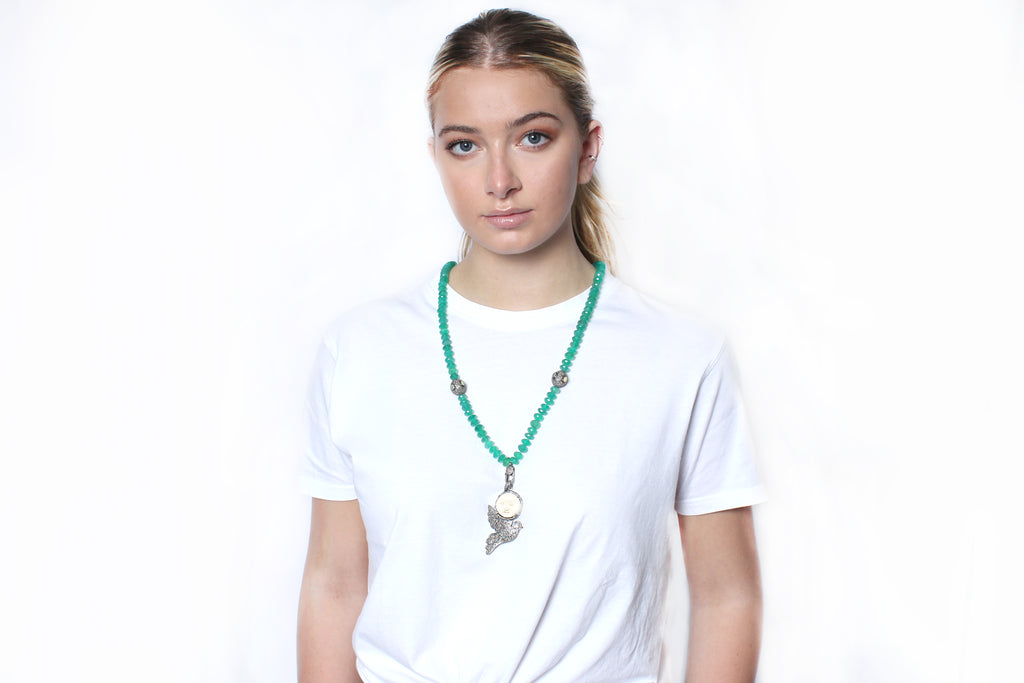 Green Onyx Bone Diamond Dove Moonface Beaded Necklace