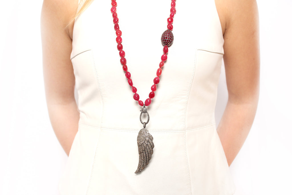 Diamond Angel Wing on Raw Cut Moroccan Ruby Necklace