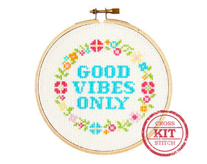 Good Vibes Only DIY Cross Stitch Kit
