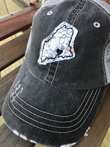 Love Maine Distressed Trucker Hats by Gracie Designs - The Local Variety
