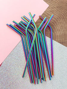 Stainless Steel Straws Reusable Eco-Friendly Green Gift Rainbow Unicorn Rose Gold Black Metal