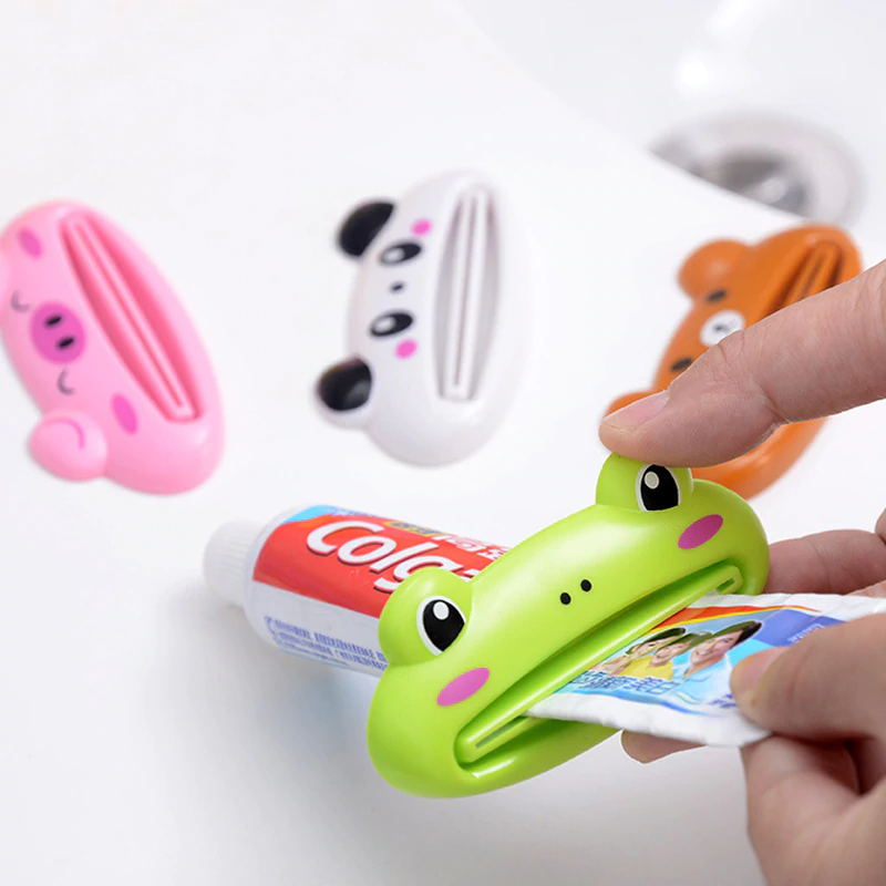 Pack of 2 Toothpaste Dispenser Cartoon Animal Tooth Paste Tube Squeezer Toothpaste Rolling Holder