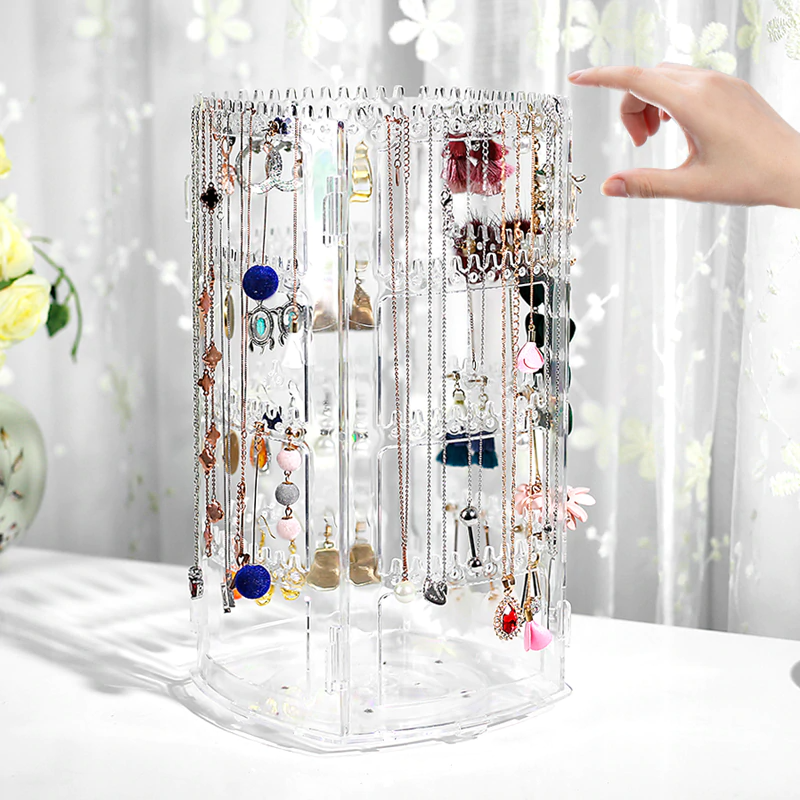 Jewelry Display Stand Holder Lady Necklace Stud Earrings Display Stand Hole Showcase Jewelry Display Rack