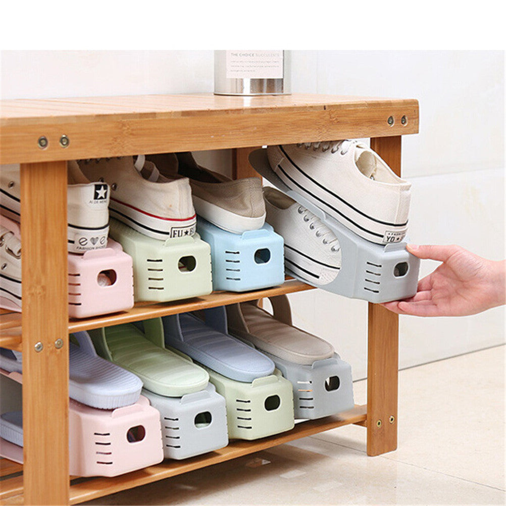 Complete Wooden Shoe Rack With 8 Space Saving Shoe Organizers