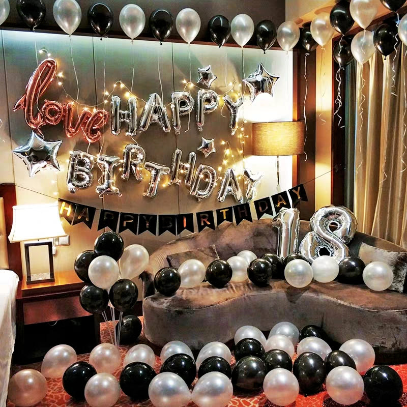 Theme of Black and Silver Happy Birthday Balloons Decoration