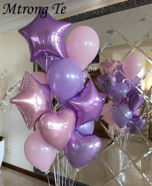 Purple Star Heart Foil Balloons Air Wedding Decoration