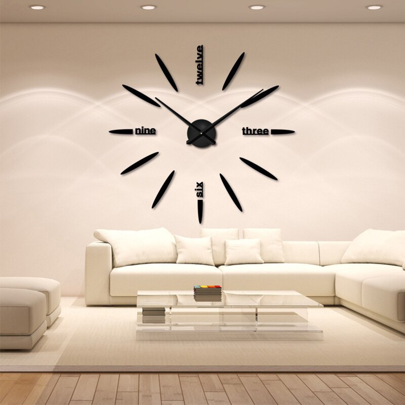 3D Bullet Wall Clock Modern Design Acrylic Black Large Wall Clock Sticker DIY Wall Watches