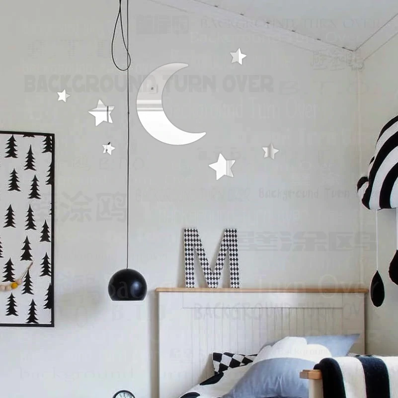 Moon Mirror Wall Stickers Room Decoration Star Sticker Decor For Children's Wall Kids