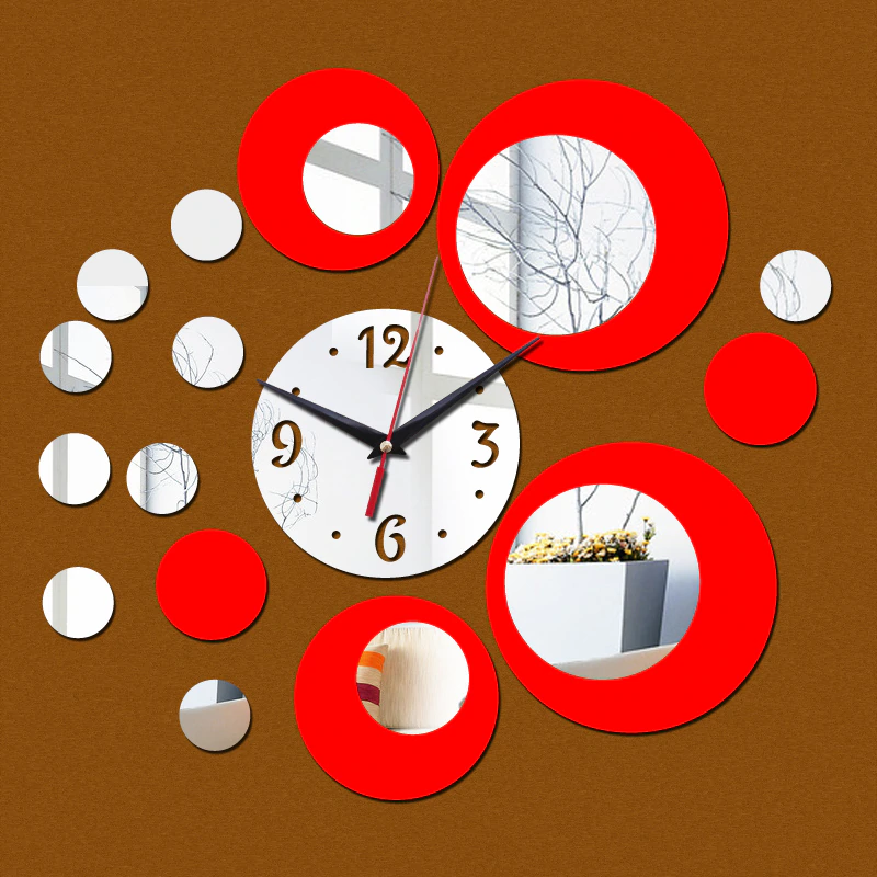Single Face Watch Diy Abs Plastic Room Clocks Watch Mirror Wall Clock Quartz