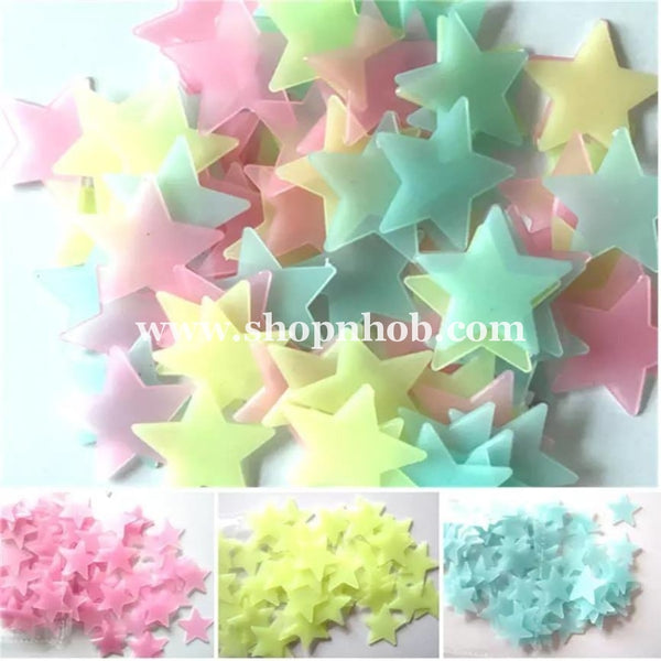 100pcs Stars Glow In The Dark Luminous Fluorescent Wall Stickers - ShopnHob