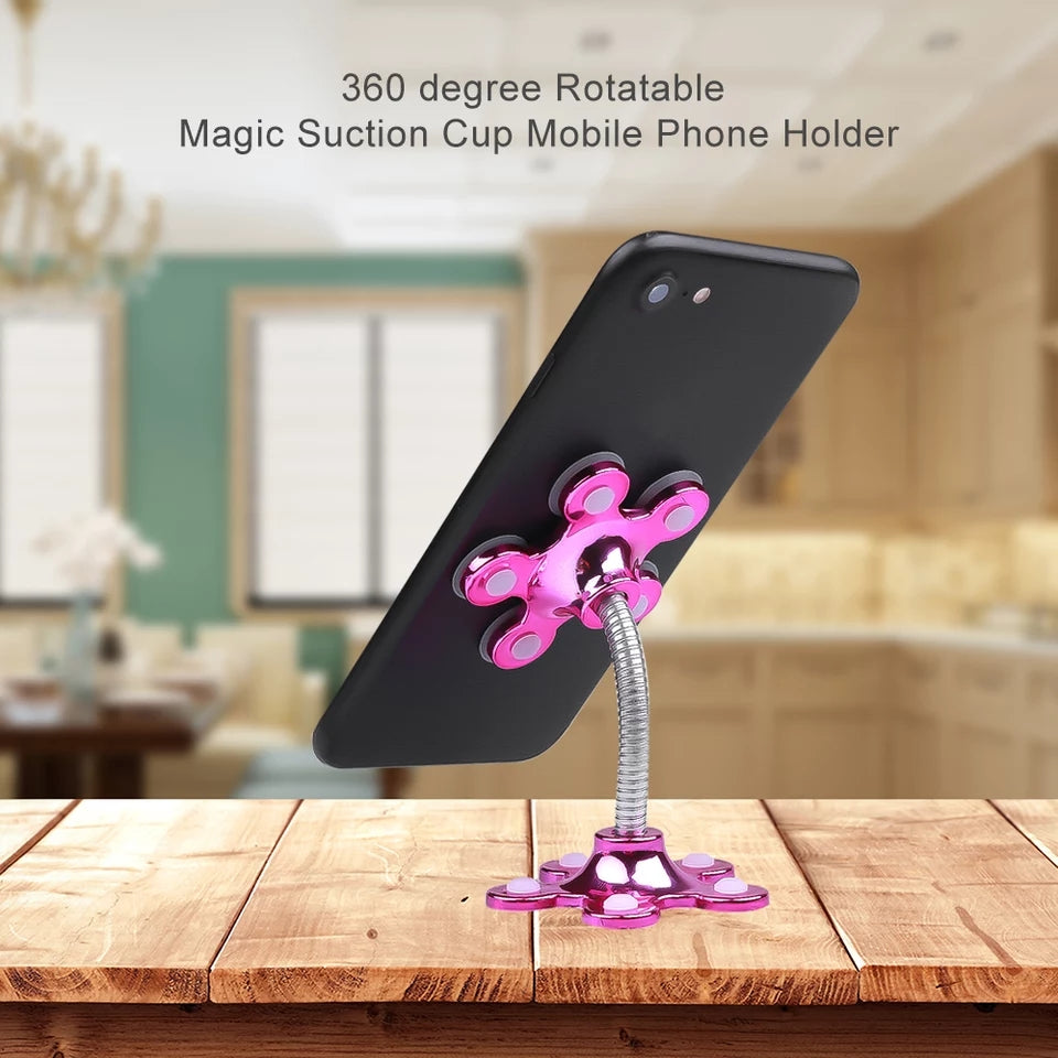 2 pcs Mini Sucker Stand For Cell Phone 360 Degree Rotatable Flower Magic Suction Cup Mobile Phone Holder Car Bracket Mount Compatible