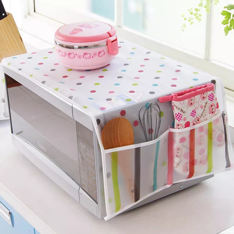 Microwave Oven Cover Kitchen Oil Dust Waterproof Double Pockets Kitchen Accessories Supplies Home Decoration