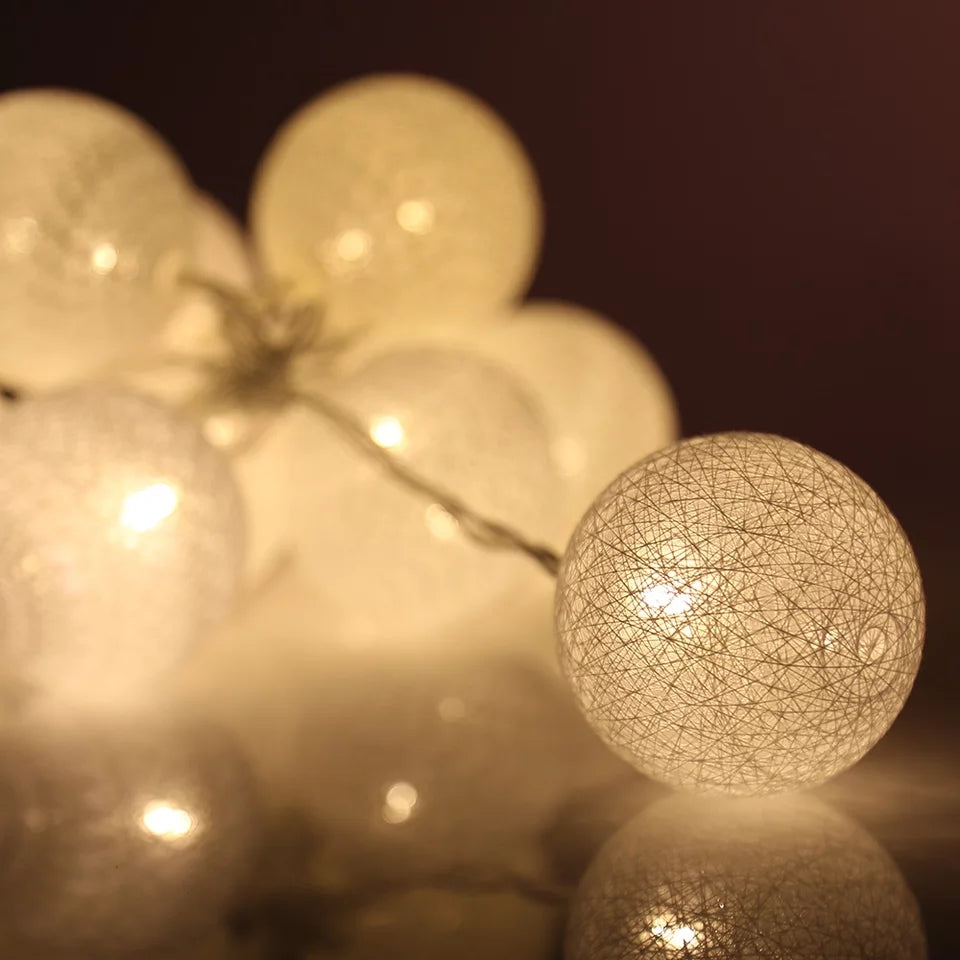 White Led Cotton Balls Lights String - ShopnHob (3574219046992)