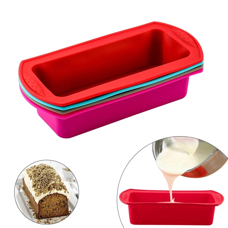 Binaural Rectangular Silicone Cake Non-stick Mold Toast Bread Tray Mold Kitchen Baking Tool Accessories
