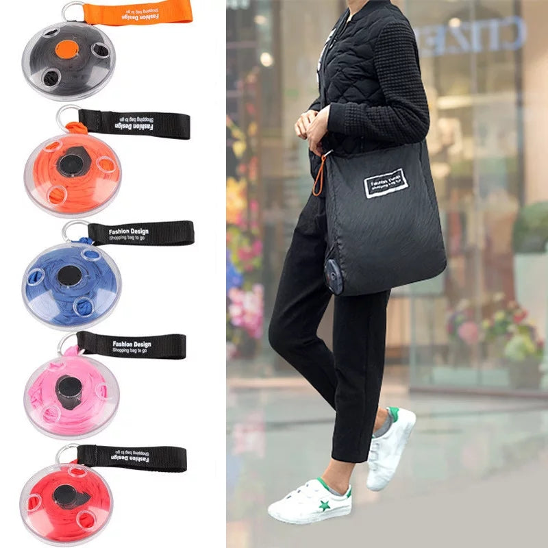 Women Portable Tote In Pouch Reusable Folding Eco Shopper Shopping Shoudler Bags Organizer with Carabiner customizable